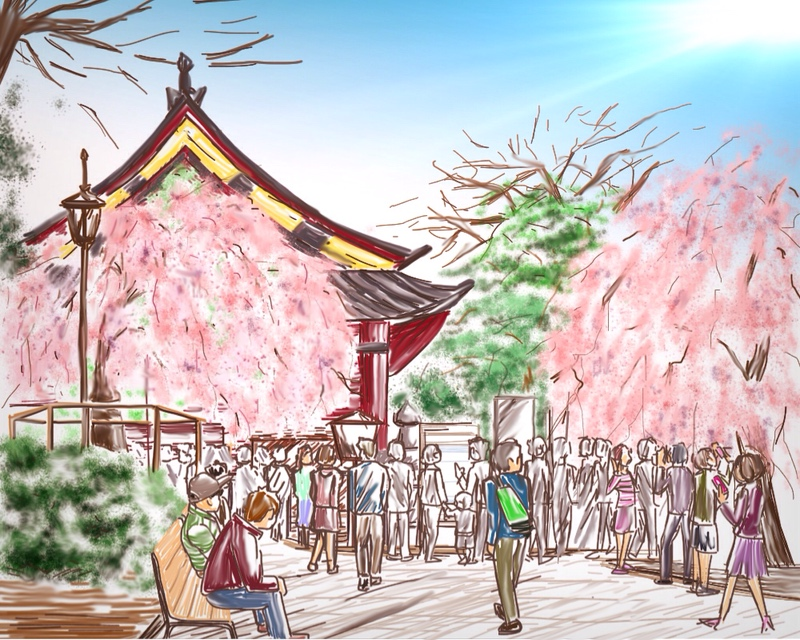上野公園,ipadで描いた,風景画