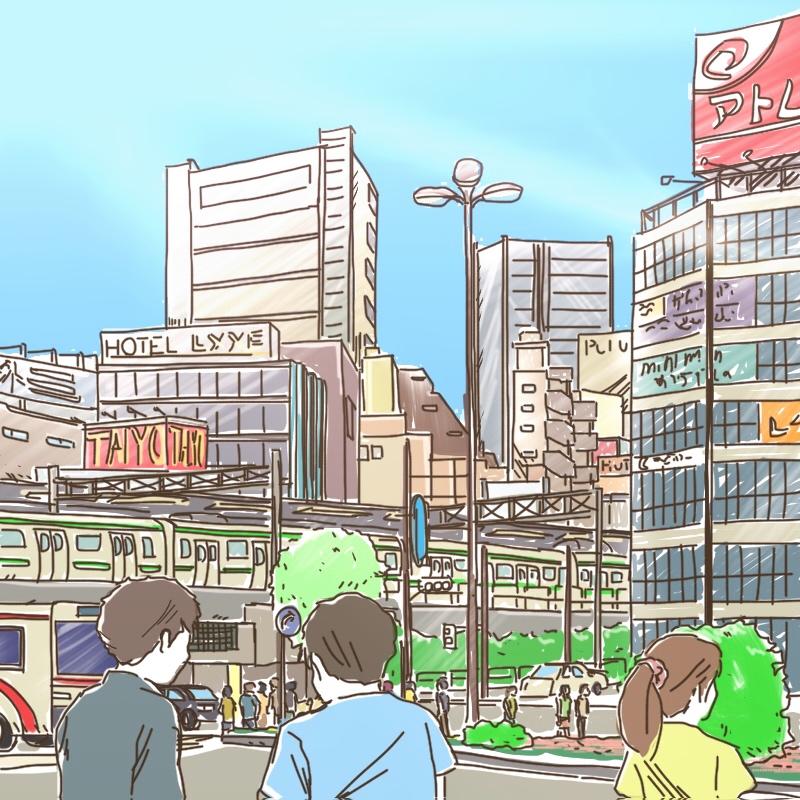 ipadで描いた,風景画,五反田