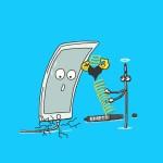 ipadで描いた,スマホ,充電ケーブル,亀裂,ボールペン,バネ,断線,iphone