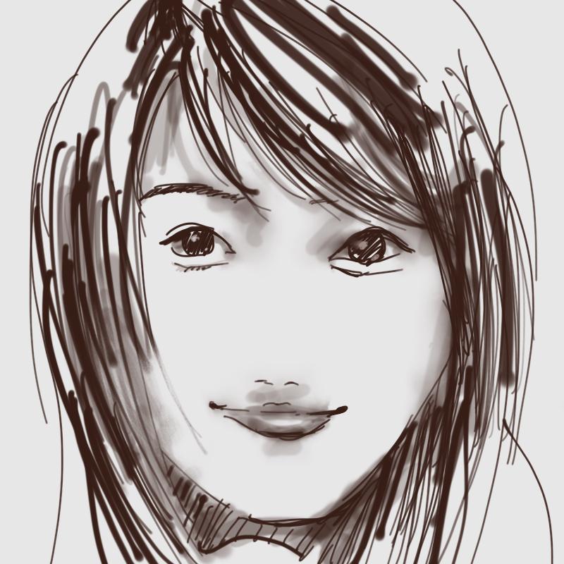 iPadで描いた似顔絵 有村架純