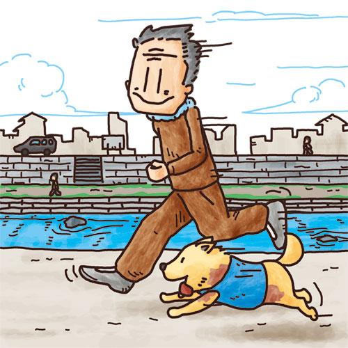 犬とジョッギング