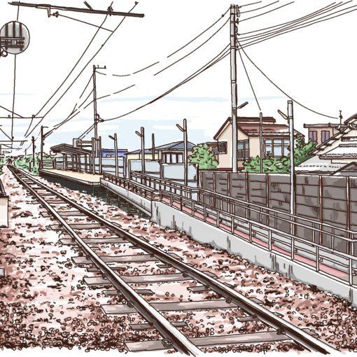 富山地方鉄道 新庄田中駅 風景画 ipad