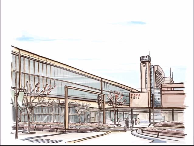 富山駅 風景画